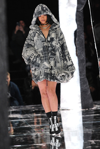 jacket rihanna puma puma x rihanna nyfw nyfw2016 all black everything jewels jewelry necklace choker necklace black choker black rihanna style fashion week fashion week 2016 ny fashion week 2016