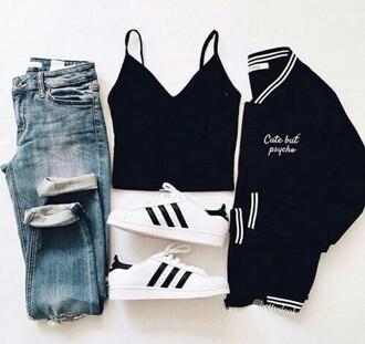 jacket tumblr outfit girly wishlist black crop top addias shoes denim jeans