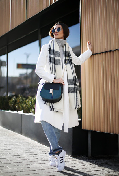tina sizonova blogger white coat black bag blanket scarf adidas shoes coat bag scarf jeans