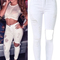 Women's solid high waisted ripped jeans