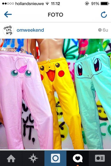 pants sweatpants pokemon pink blue yellow instagram
