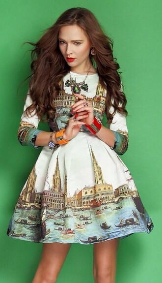 dress print pleated skirt