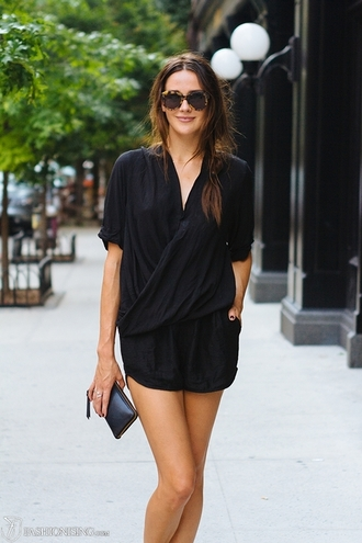 dress black romper jumpsuit summer spring black jumpsuit v neck wrap wrap playsuit shorts black clutch new york
