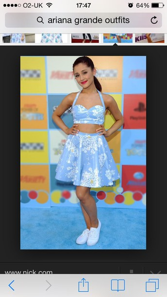 dress ariana grande crop tops skirt shoes and the top too shirt