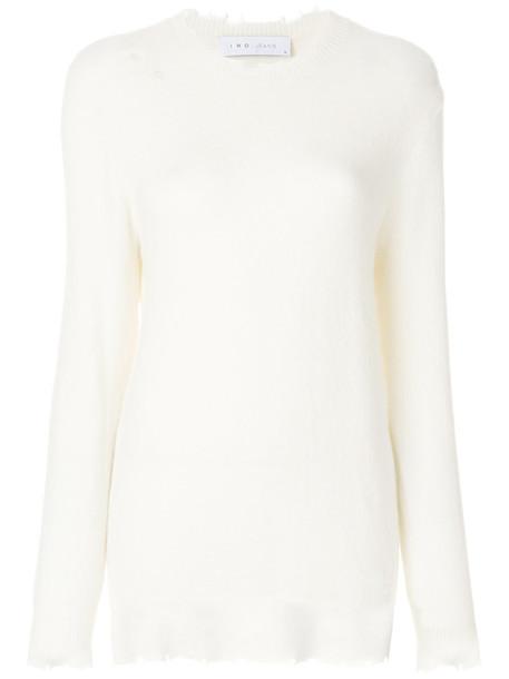 Iro - long sleeved distressed top - women - Nylon/Spandex/Elastane/Wool/Alpaca - XS, White, Nylon/Spandex/Elastane/Wool/Alpaca