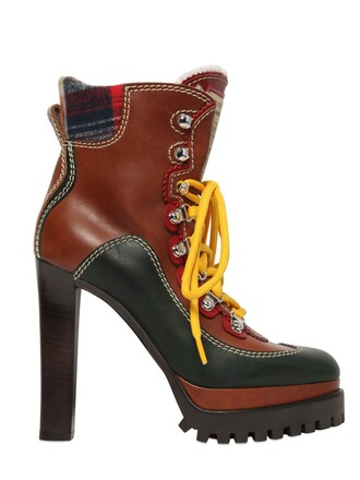 boots lace leather brown shoes