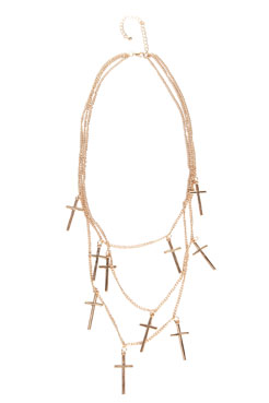 Isla Multi Chain Cross Necklace at boohoo.com
