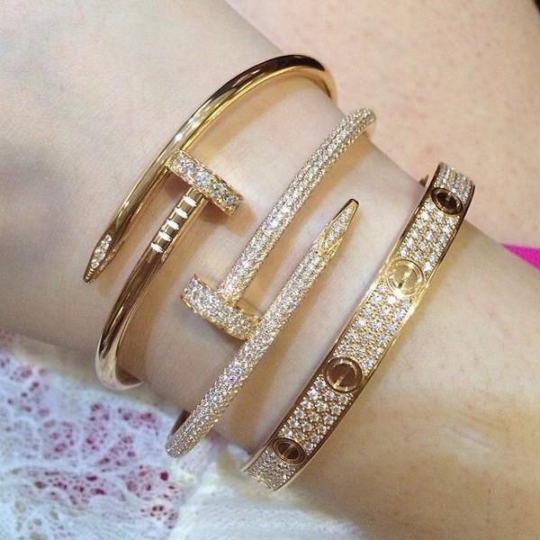 jewels, gold, nails, cartier nail bracelet, bracelets ...
