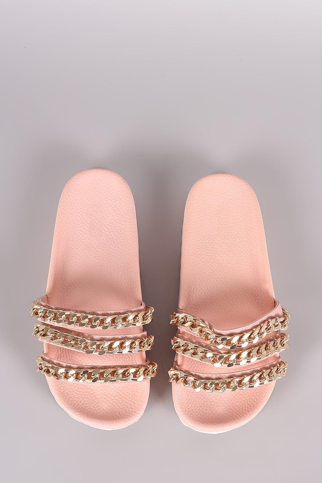 ba11053cbd0dee Triple Chain Lug Sole Slide Sandal