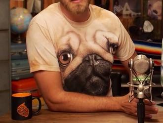 youtuber pugs t-shirt shirt dog blouse brown eyes big eyes animal mens t-shirt