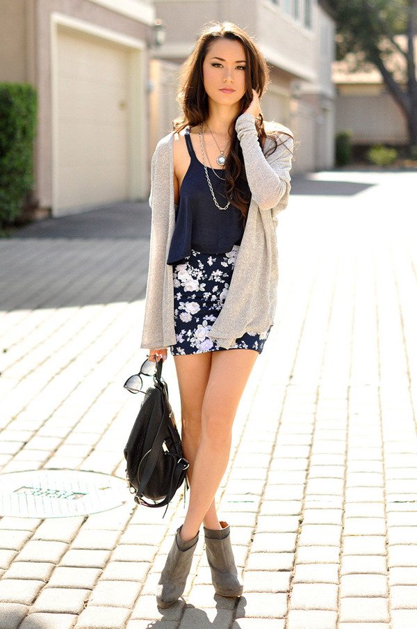 hapa time sweater tank top skirt shoes jewels jacket blouse style fashion flower skirt clothes floral skirt cardigan top crop tops date outfit