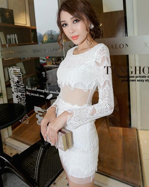 2 Colors O Neck Long Sleeves Knitted Lacework Women's Autumn Dress Sheer Waist Slim Girl Sexy Clubwear Party Dress Pencil Dress on Aliexpress.com