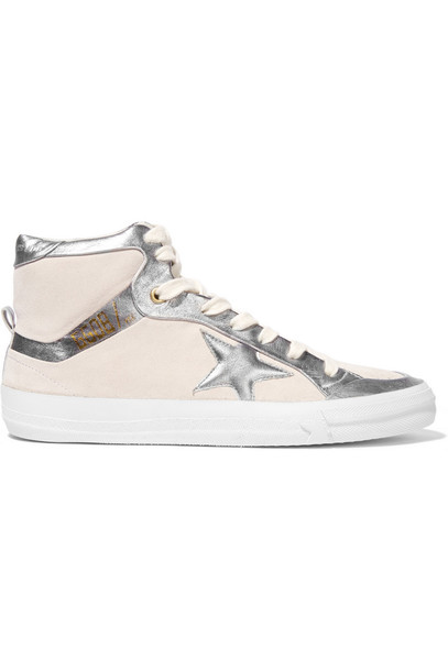 metallic high sneakers leather silver white off-white shoes