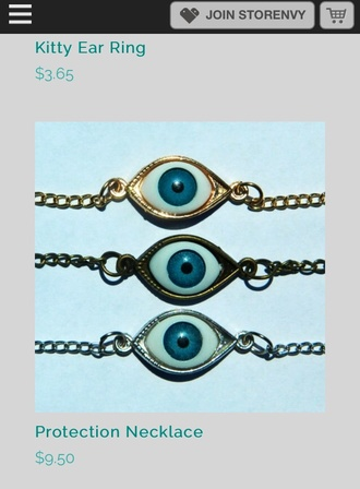 jewels eyes eye necklace indie grunge weird hipster boho cool lovers + friends blue silver style fashion