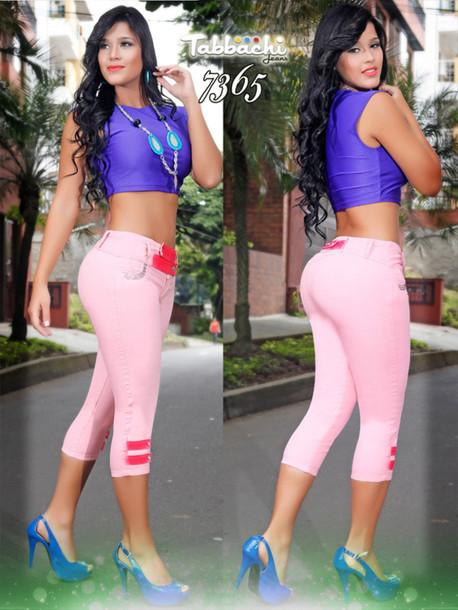jeans pink capri pants pink pants yallure yallure.com tabbachi butt lifting jeans pink colored jeans