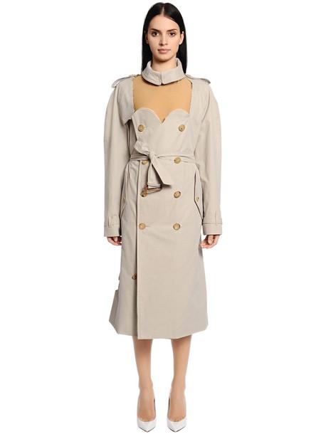 MAISON MARGIELA Cutout Cotton Gabardine Trench Coat in beige / beige
