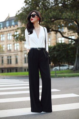 gary pepper vintage t-shirt pants jewels belt sunglasses bag shoes wide-leg pants black pants white shirt office outfits