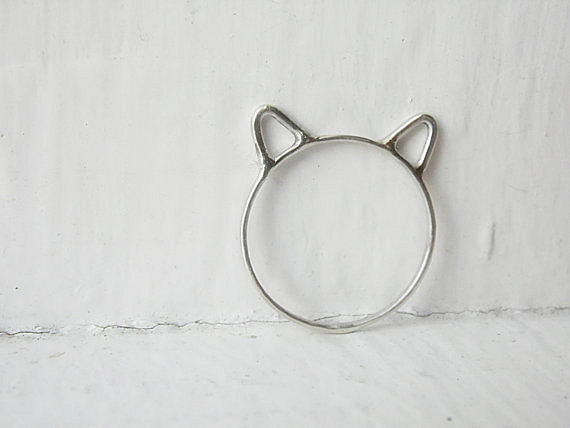 Cat Ears Ring Cat Ring Sterling Silver van AutumnEquinox op Etsy
