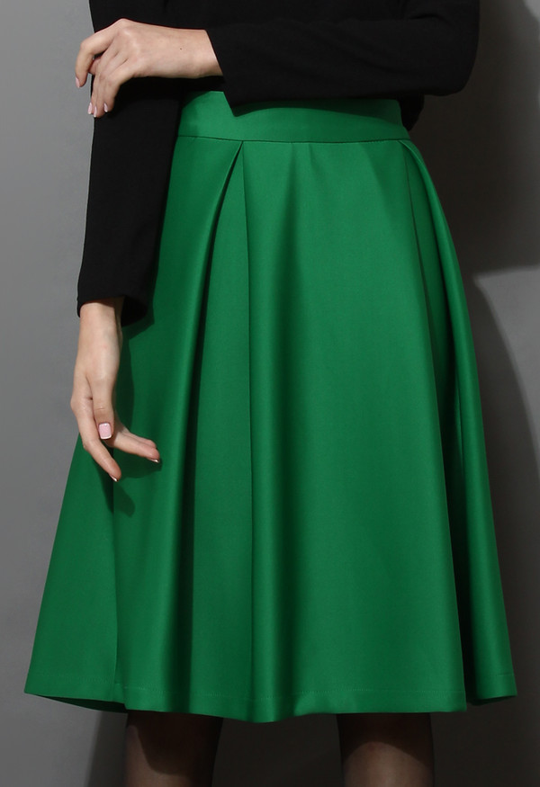 Skirt: full, a-line, midi skirt, green - Wheretoget
