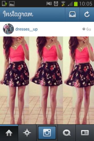 skirt floral floral blouse