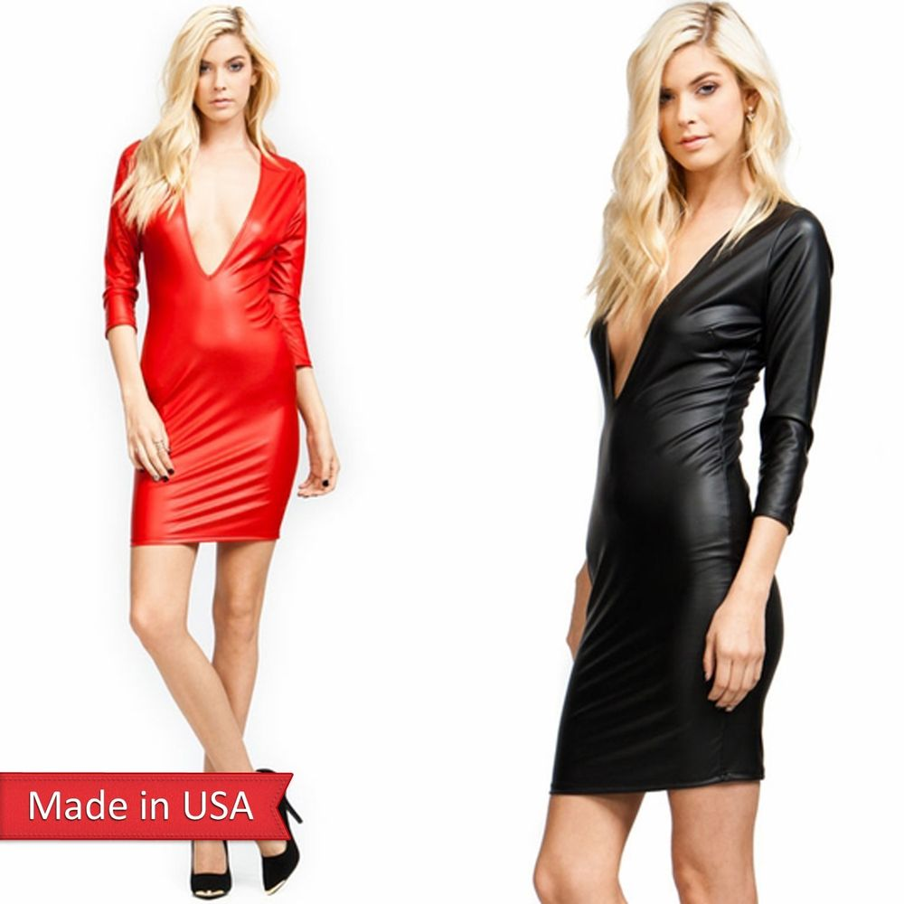 New Women Sexy Faux Leather Black Red Plunging Deep V Neck 3/4 Sleeves Dress USA