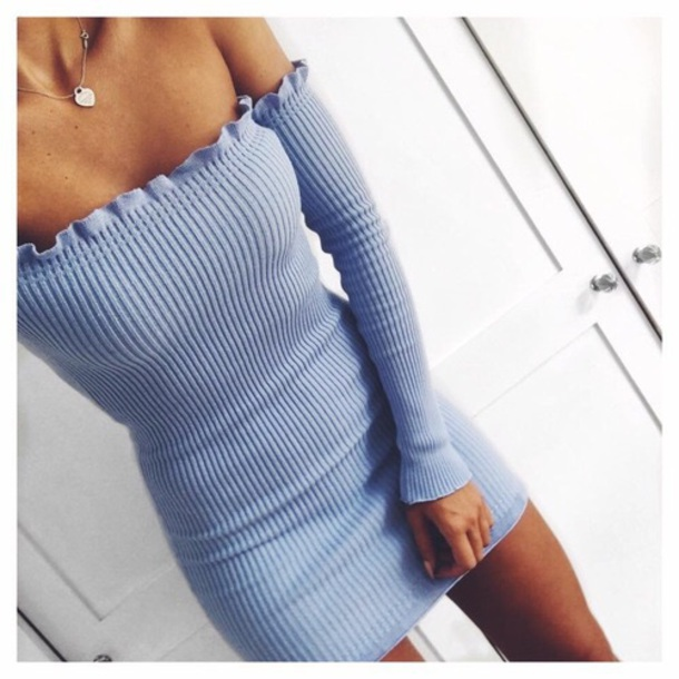 dress bodycon dress light blue short dress off the shoulder dress ribbed ribbed dress blue baby blue blue dress off the shoulder