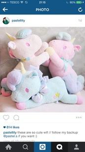 home accessory,unicorn,pink,blue,purple,yellow,stuffed animal,pastel,kids room