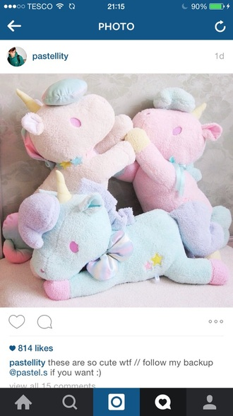 home accessory unicorn pink blue purple yellow stuffed animal pastel kids room