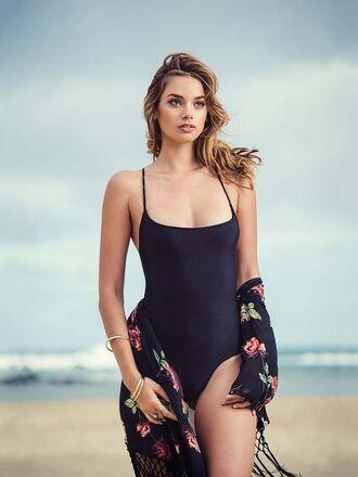 swimwear michelle vawer model black swimwear one piece swimsuit kimono floral kimono bracelets brunette cardigan