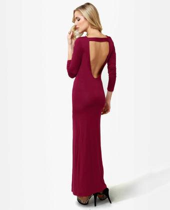 save of Sexy Maxi Dress - Burgundy Dress - Backless Dress - Long ...