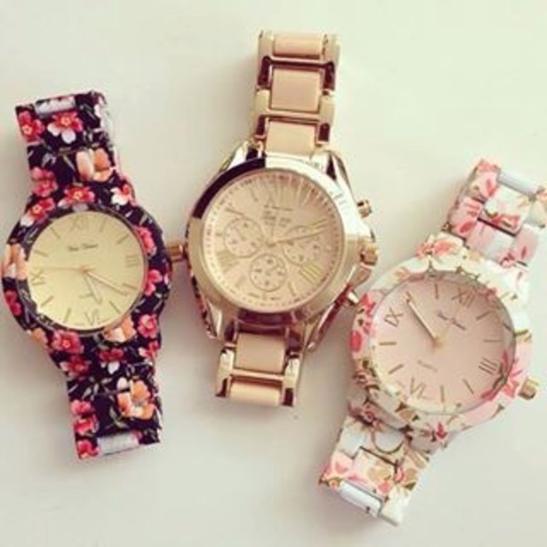 jewels floral watch watch rawbeauty. print watch flower watch fashion blogger clock geneva bracelets jewelry floral flowers gold watch gold watch nail accessories flowers gold rose gold rose gold watch floral watches cute watch