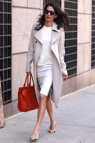 shoes pumps skirt coat spring outfits amal alamuddin