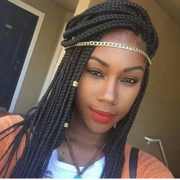 hair accessory gold chain head jewels box braids