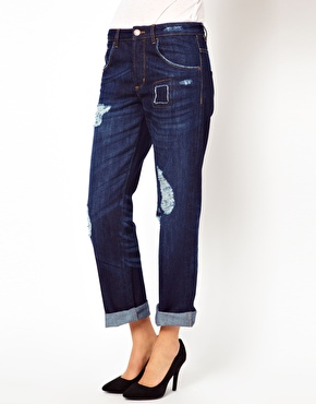 ASOS | ASOS Saxby Boyfriend Jeans in Dark Stone Wash at ASOS