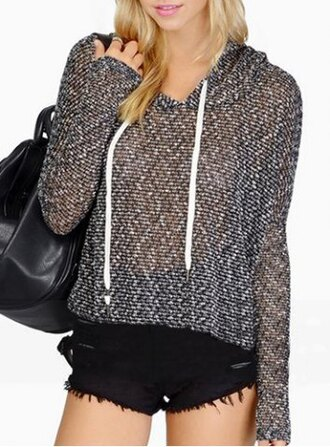 sweater grey cute fashion style fall outfits winter outfits hoodie long sleeves sporty chic