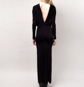 Two Way V Cut Black Maxi Dress