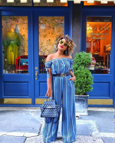 5e0592fc95889 jumpsuit tumblr blue jumpsuit off the shoulder bag blue bag belt gucci  gucci belt wide-