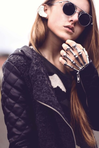 bones skeleton hand gloves metal