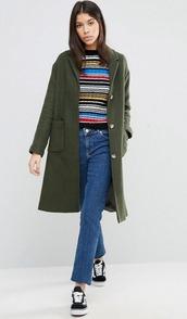 coat,olive green