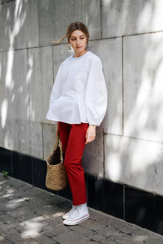 top white converse tumblr white top puffed sleeves pants red pants sneakers white sneakers converse bag woven bag earrings shoes