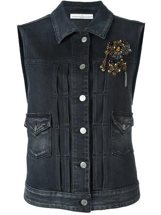 vest denim vest denim women spandex embellished embellished denim cotton grey jacket