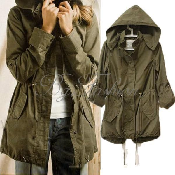 Hoodie Drawstring Army Green Military Trench Coat Parka Jacket ...