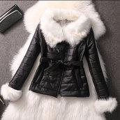 coat,warm,slim,black white quilted