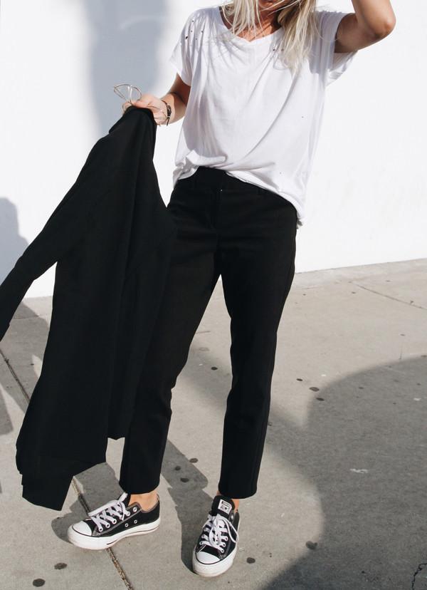 Pants Tumblr Tumblr Outfit Black Pants T Shirt White