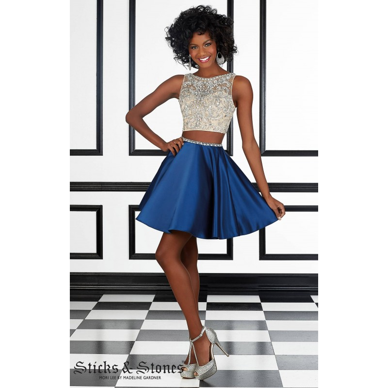 Navy Sticks and Stones 9404 - 2-piece Sleeveless Short Sheer Dress - Customize Your Prom Dress