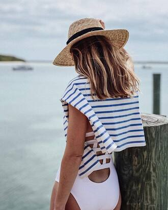 swimwear top hat tumblr one piece swimsuit white swimwear stripes striped top sun hat