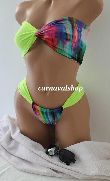 Bikini & Brazilian Bottom-spandex bandeau.2pcs.Neon green and Rainbow