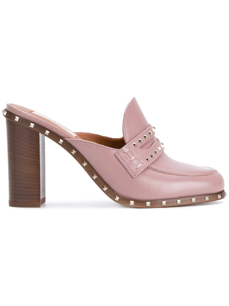 Valentino women mules leather purple pink shoes