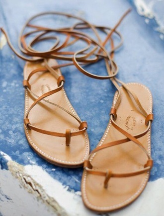 shoes sandals brown leather tie sandals leather sandals cross over style fashion