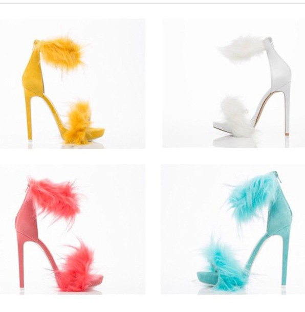 shoes jeffrey campbell fashion high heels heel heels with straps heels fur faux fur pink shoes yellow yellow shoes white high heels kitten heel